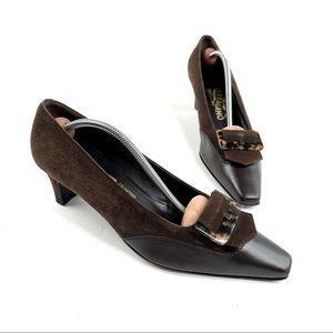 Ferragamo Suede and Leather Tortoise Buckle Heels
